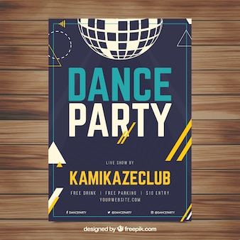Party poster template with disco ball