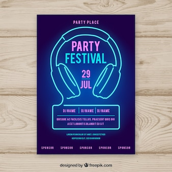 Party poster template with neon lights