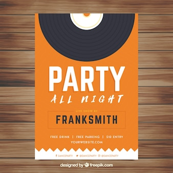 Party poster template with retro style