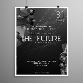Party poster with a black geometric background