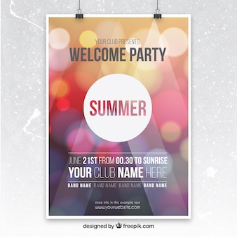 Party poster with bokeh background