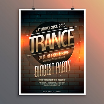 Party poster with brick wall