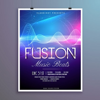 Party poster with bright wavy lines