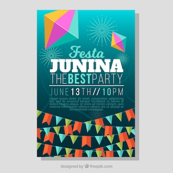 Party poster with garlands for festa junina