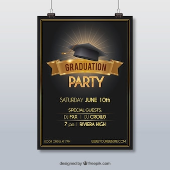 Party poster with graduation cap