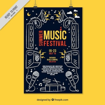Party poster with hand drawn musical elements