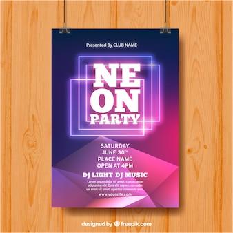 네온 도형 파티 포스터