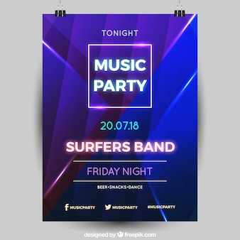 Party poster with neon style