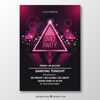 Party poster with neon triangle