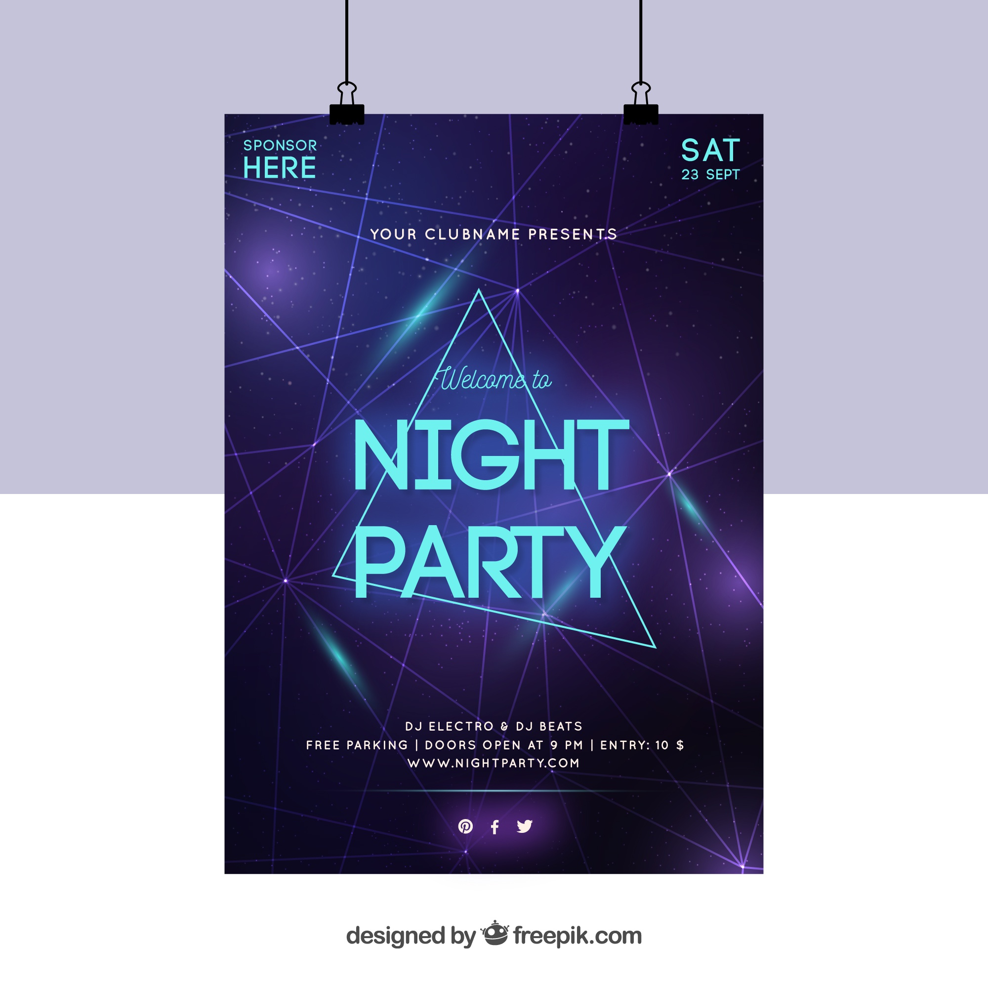 Party poster with neon triangles