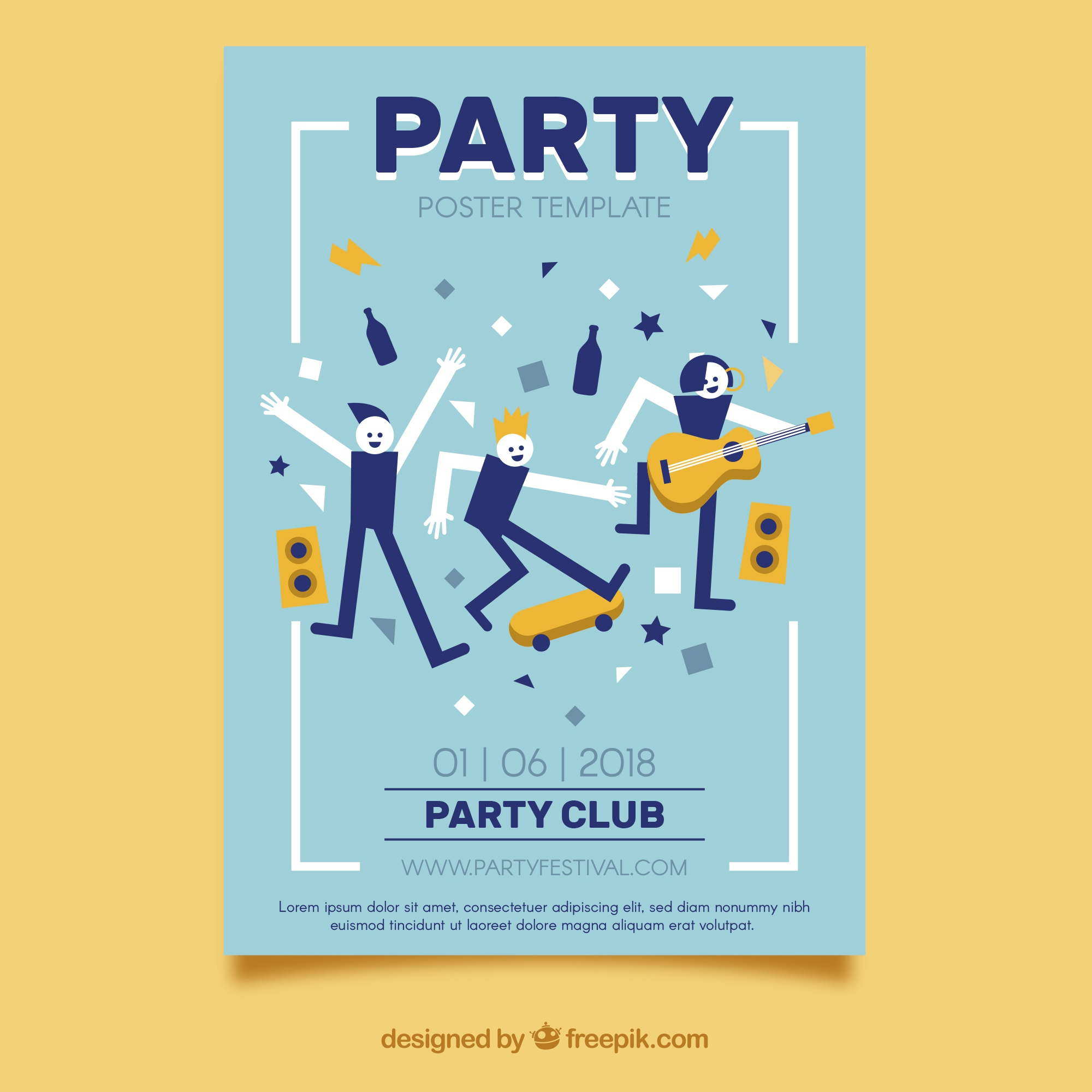 Party poster with people dancing