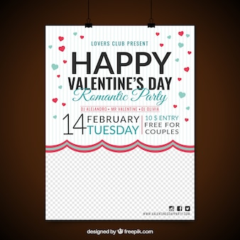 Party poster with red and blue hearts for valentine's day
