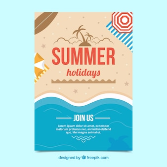 Party poster with summer beach