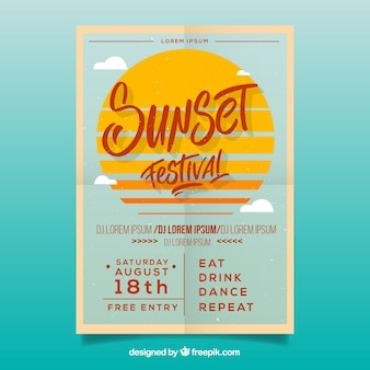 Party poster with sun and clouds