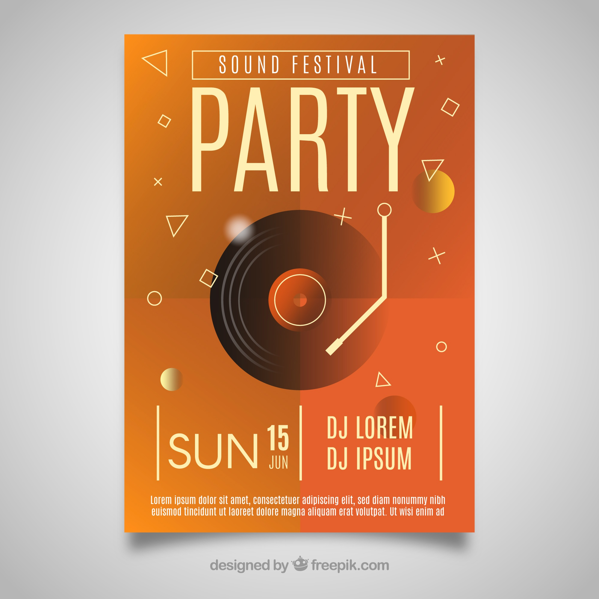 Party poster with vinyl disc