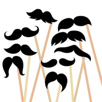 다양하고 독특하고 복고 스타일 컨셉 일러스트레이션의 파티 소품 콧수염