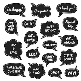 Party props. photo booth comic speech bubbles with funny phrases for masquerade event, white congratulate text on black background christmas and new year party, birthday vector isolated set