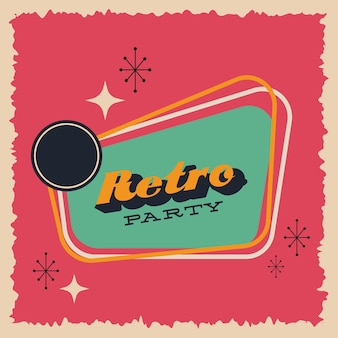 Party retro style poster vector illustration design