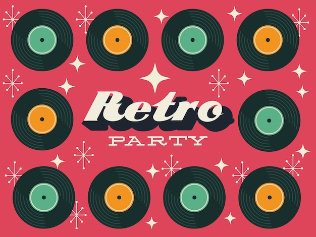 Party retro style poster with vinyl disks frame vector illustration design