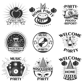 エンブレム、バッジ、ステッカーまたはバナーのパーティーセット。ヴィンテージスタイルのデザイン要素。黒のアイコンと白い背景で隔離のロゴ。