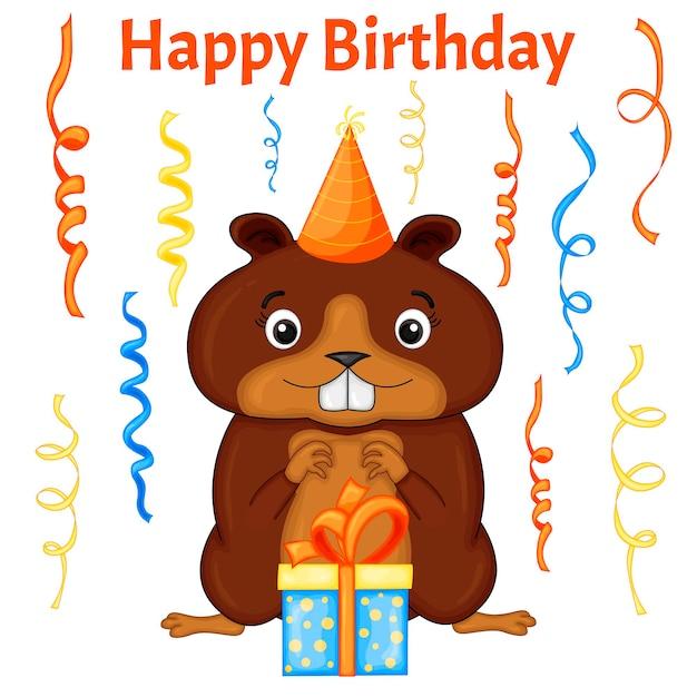 白い背景の上に猿とカラフルなアイテムで設定されたパーティー。碑文「お誕生日おめでとう」。色とりどり。ベクター。