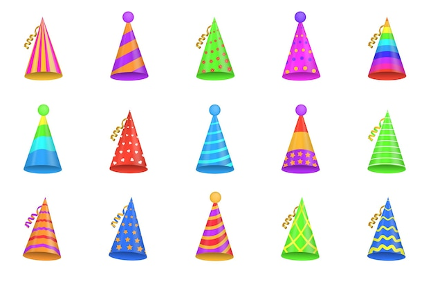 Party shiny caps isolated on white background