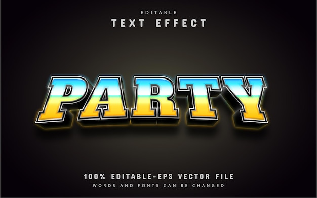 Текст вечеринки, текстовый эффект в стиле 3d градиента