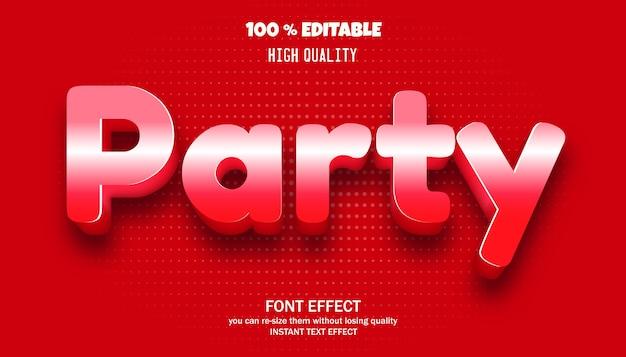 파티 텍스트 효과. 편집 가능한 글꼴