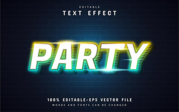 Party text effect neon style