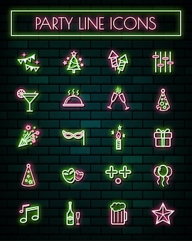 Party  thin neon glowing line icons set