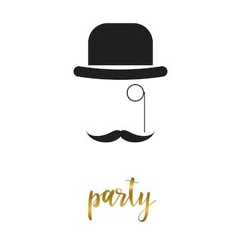 パーティータイムカードテンプレート。カード、招待状、バナー、本、プラカード、アルバム、スケッチブックの白いカバーに分離された手描きのパーティーの手紙と帽子。