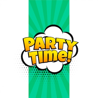 Party time expression banner in comic style