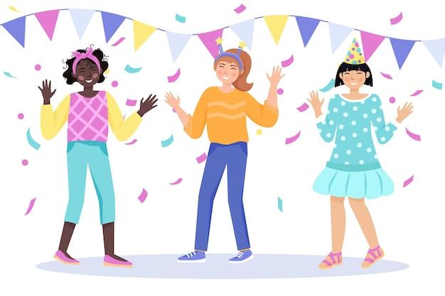 파티 시간 소녀들이 춤을 추며 즐겁게 휴일을 축하합니다.
