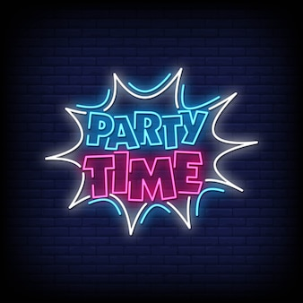 Party time neon signs style text