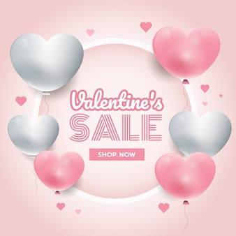 Party time, valentine's day background with white and pink 3d hearts, circle frame, banner vector