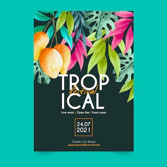 Party tropical poster template