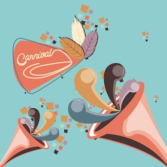 Party trumpet carnival accessory vector illustration design
