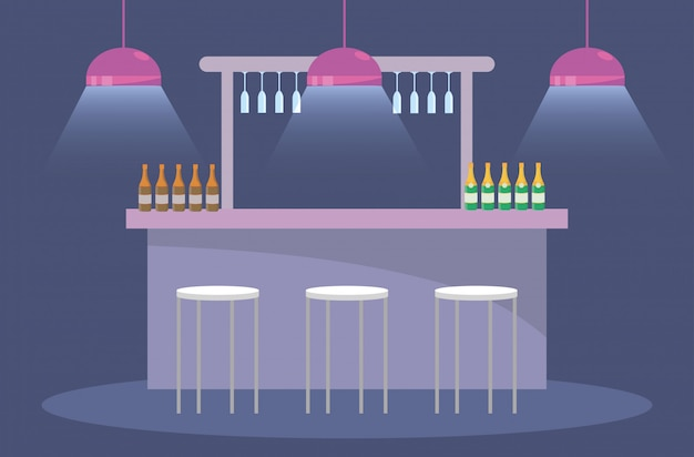 Party with champagne bottles and lights with chairs