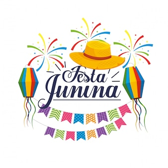 Party  with hat and lanterns to festa junina