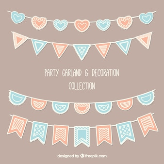 Party wreaths collection in vintage style