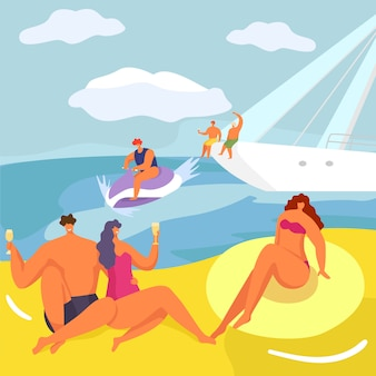 Party at yacht, people in cruise  illustration. luxury lifestyle, man woman character on boat at cartoon sea adventure.
