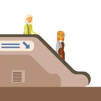 Pasangers descending escalator in metro