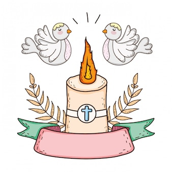 Paschal candle sacred with doves birds