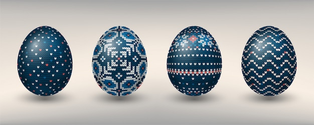 Paschal eggs decorated with blue knitting patterns