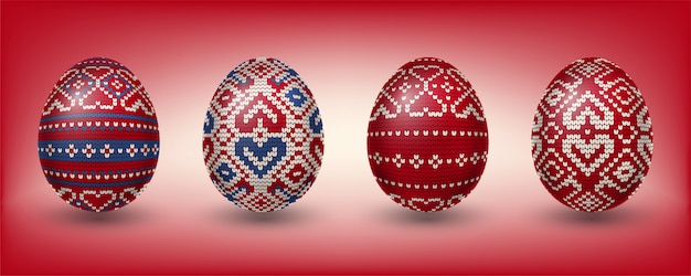 編み物パターンで飾られた赤いpaschal卵
