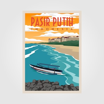 Pasir putih anyerビーチビンテージポスターイラストデザイン、インドネシアのビーチポスターデザイン