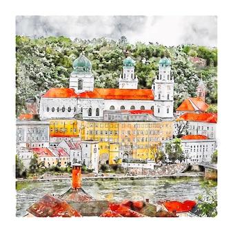 파사우 독일 수채화 스케치 손으로 그린 그림