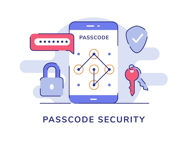 Passcode security password padlock key shield isolated background