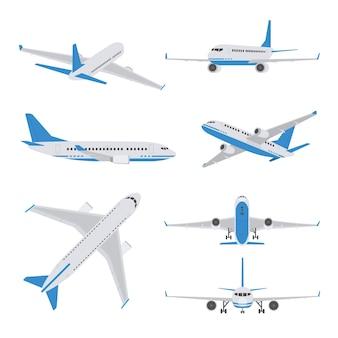 さまざまなビューの旅客機 Premiumベクター