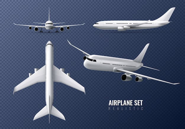 Passenger airplane realistic set on transparent  with airliners in different point of view isolated